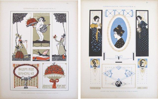 Art Nouveau Design Sheets, Pair