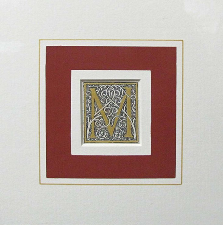 Letter M French Woodblock Print, 1522