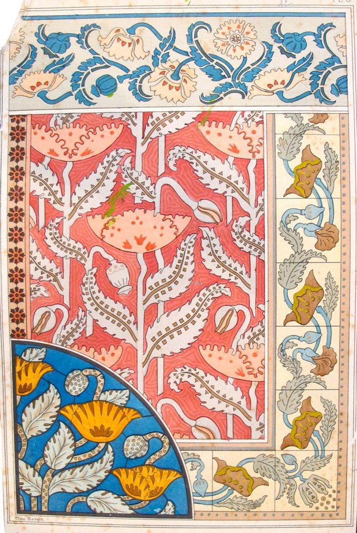 Antique Poppy Design Sheet, 1885