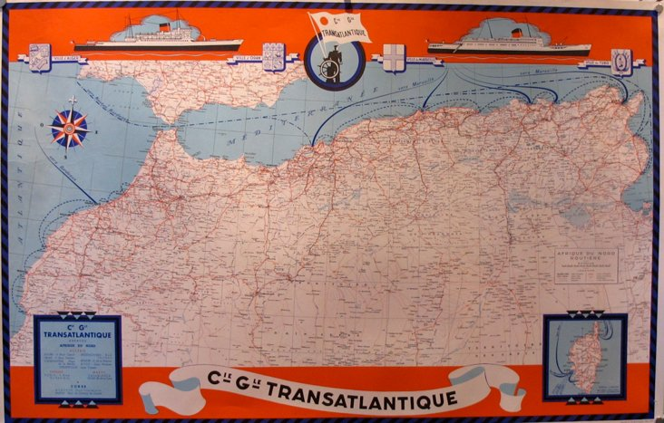 1950s French North Africa Map