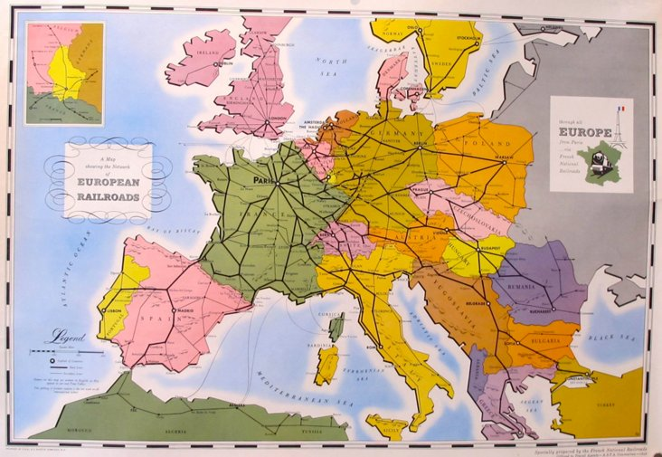 Map of European Railroads, 1949
