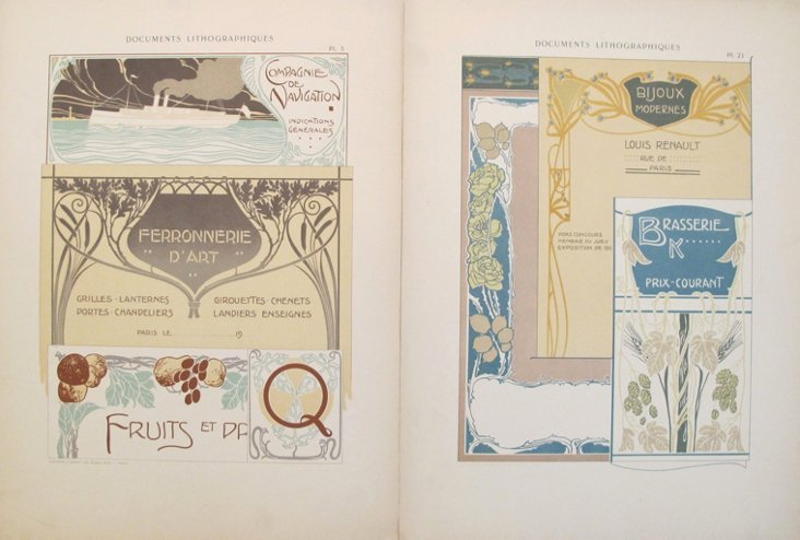 French  Decorator Sheets, C. 1900,  Pair