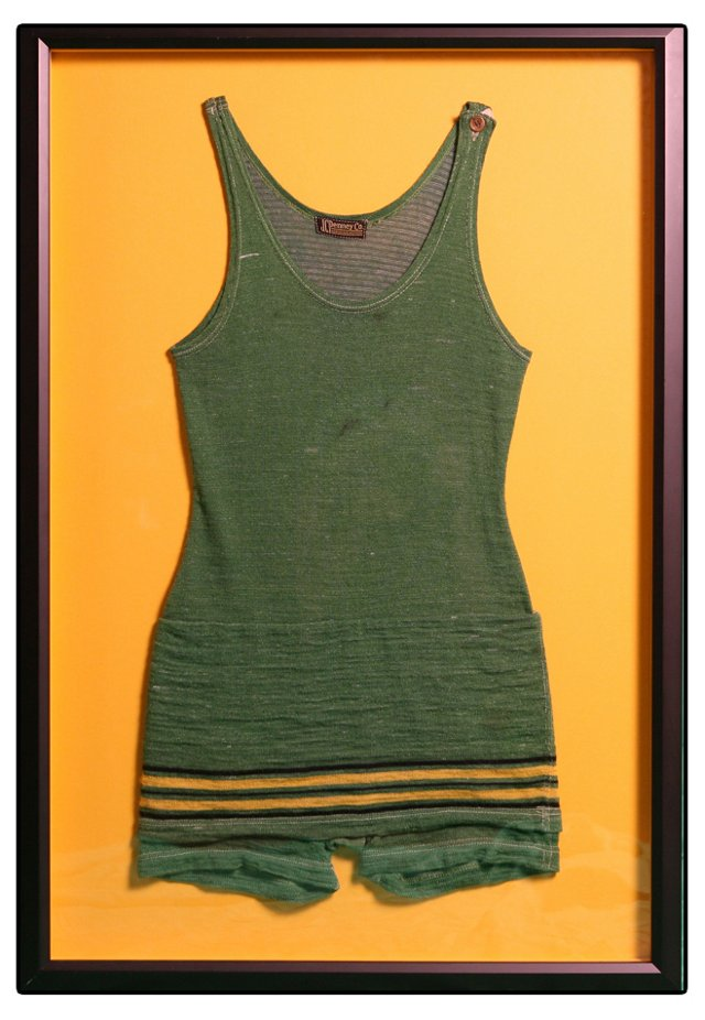 Framed Green Striped Wool Swimsuit