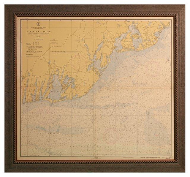 Nantucket Sound Nautical Chart, 1950