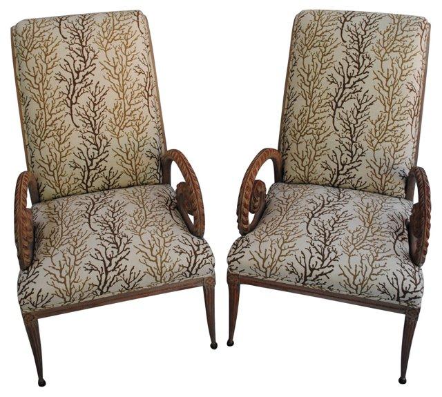 Midcentury Grosfeld House  Chairs, Pair