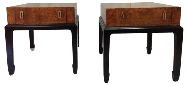 Hekman Burlwood Side Tables, Pair