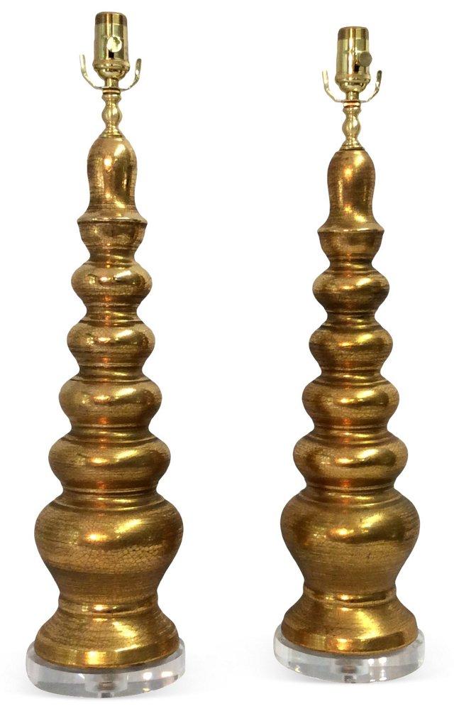 Midcentury Gold Ceramic Lamps, Pair