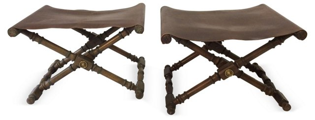 Campaign-Style Stools, Pair