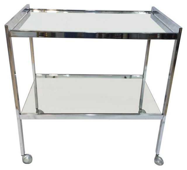 English Chrome Bar Cart w/ Mirror