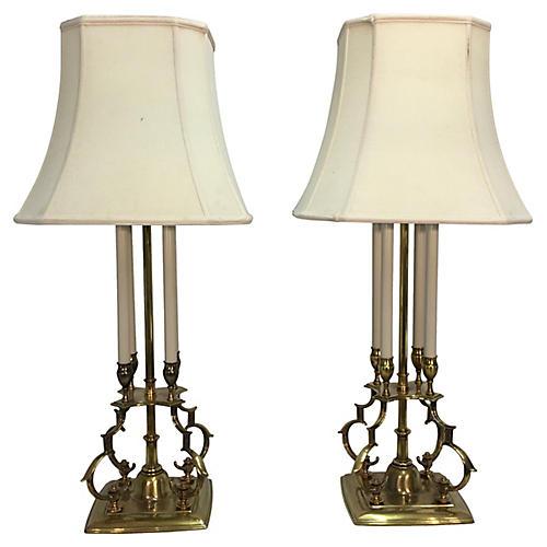 Parzinger for Stiffel Brass Lamps, S/2
