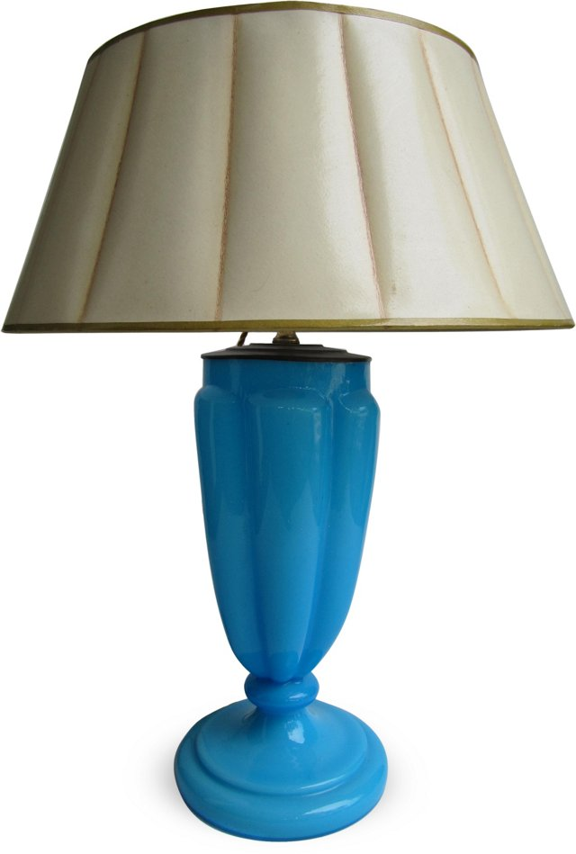 French Blue Opaline Glass Table Lamp