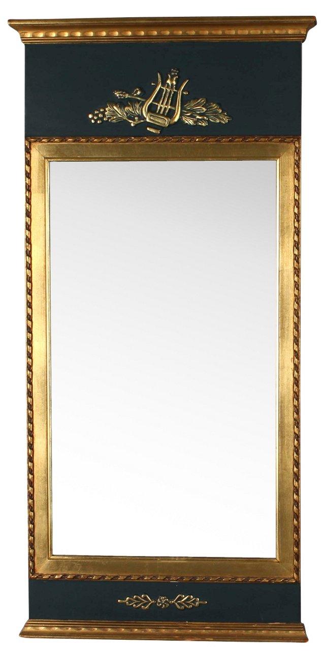 Black Gustavian-Style Mirror