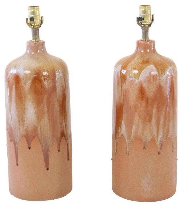 Tall Danish Terracotta Lamps, Pair