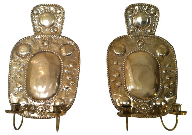 Gustavian Brass Candle Sconces,  Pair