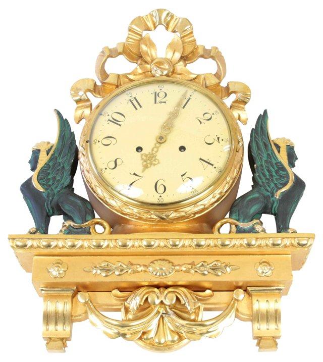 Gustavian Griffins Wall Clock