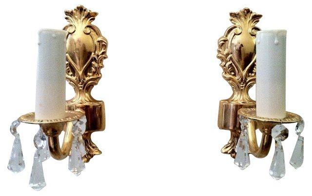 Gustavian Crown Sconces, Pair