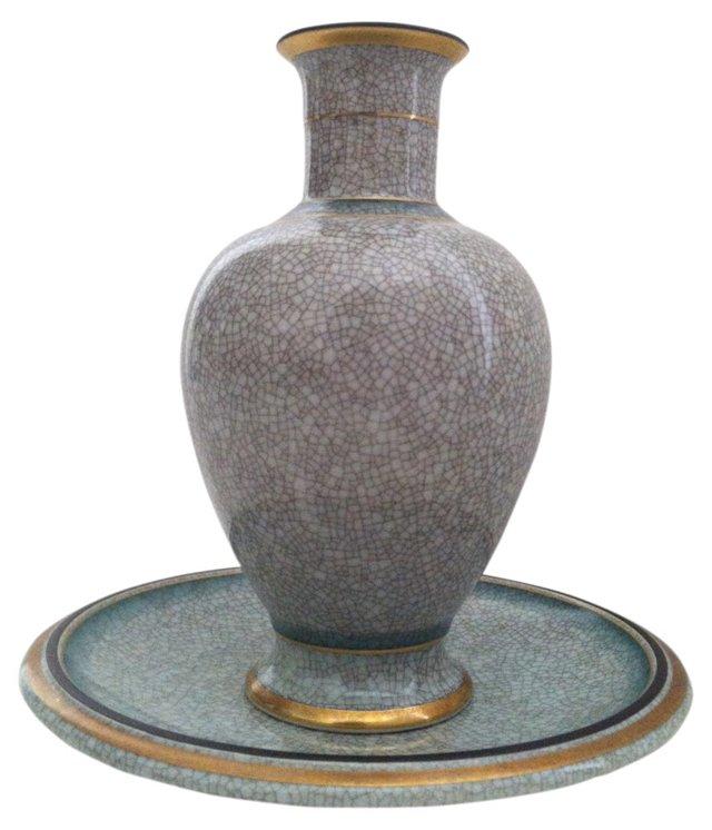 Midcentury Celadon Vase & Plate