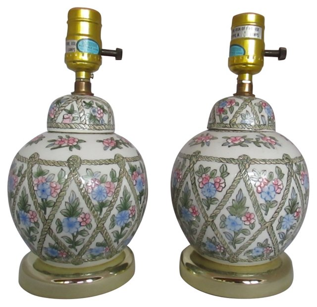 Country Floral Lamps, Pair