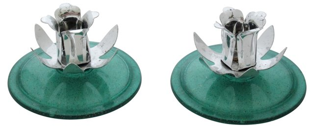 Lucite Candleholders, Pair