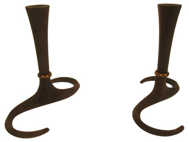 Danish Iron Candleholders, Pair