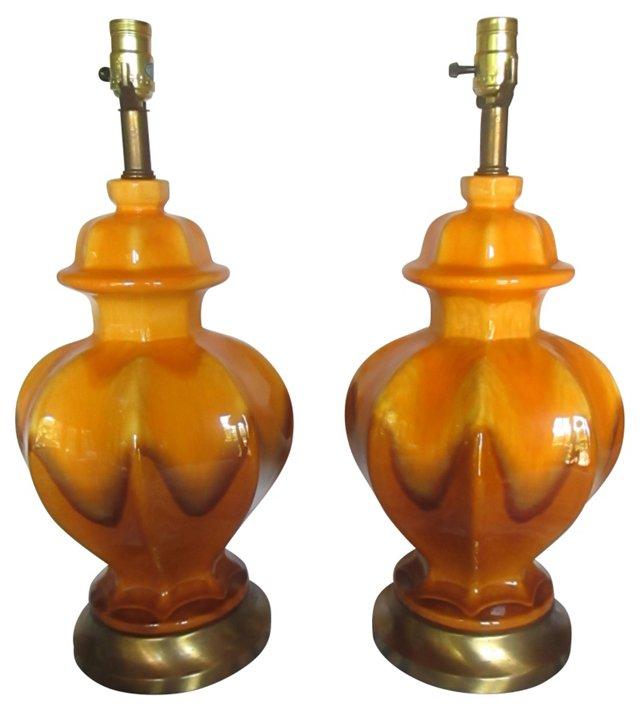 Royal Haeger Drip Glaze  Lamps, Pair