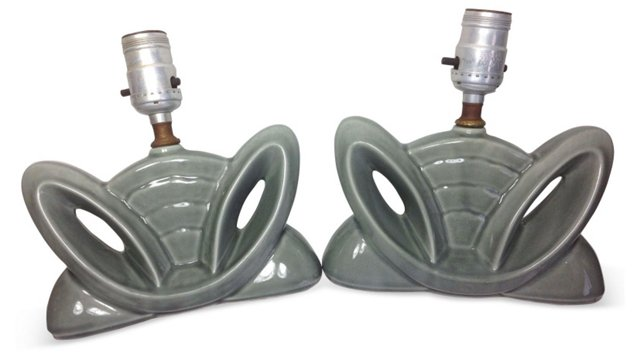 Gray Art Deco-Style Lamps, Pair