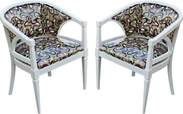 White Lacquered Armchairs, Pair