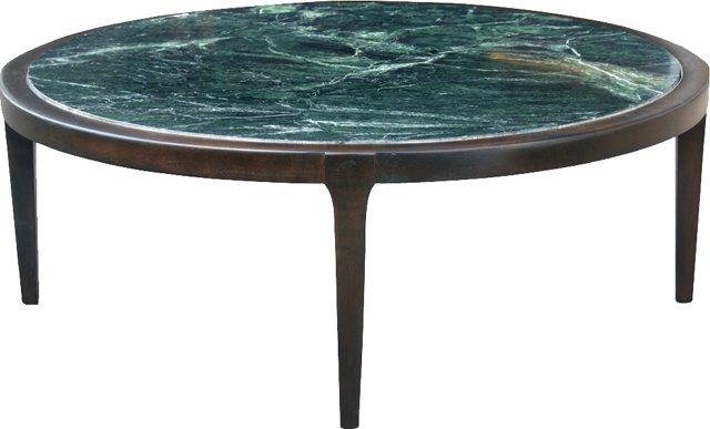 Marble-Top Walnut Coffee Table