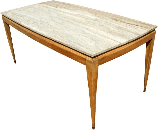 Italian Marble & Wood Dining Table