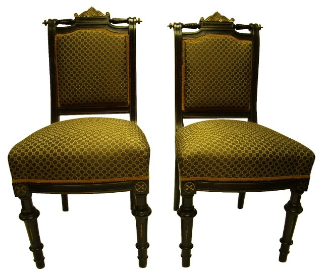 French Side Chairs w/ Brass Inlay, Pair