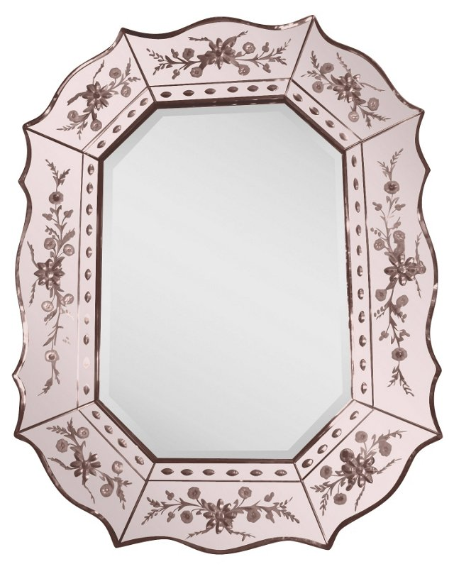Pink Art Deco Venetian-Style Mirror