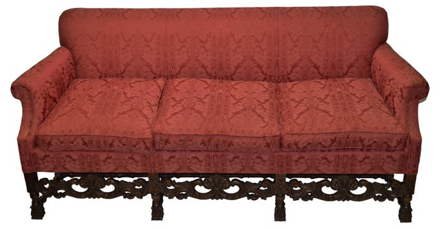 1930s Sofa w/ Hand-Carved Frame