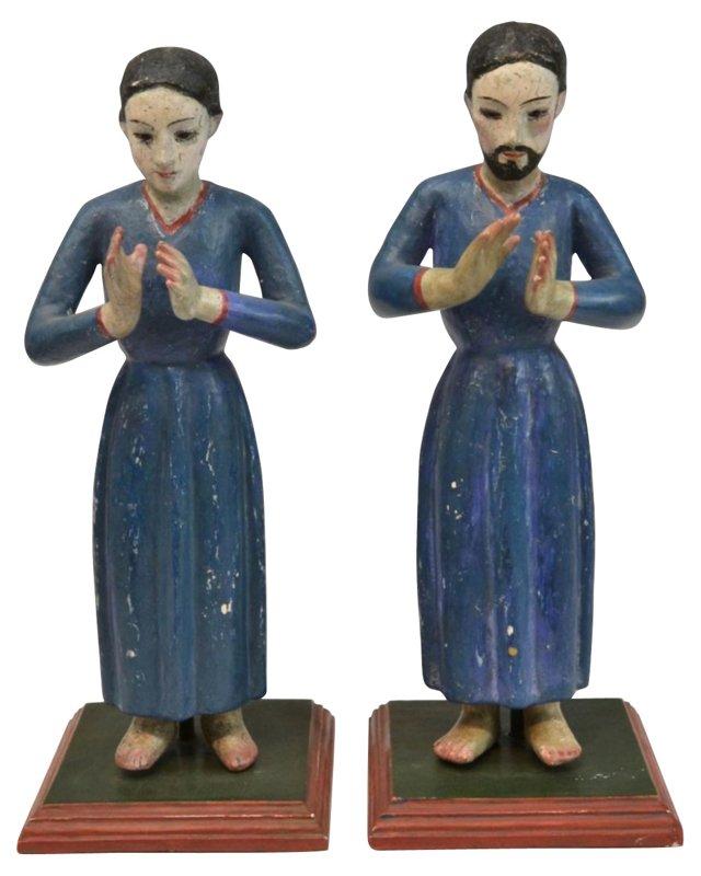 19th-C. Figures, Pair