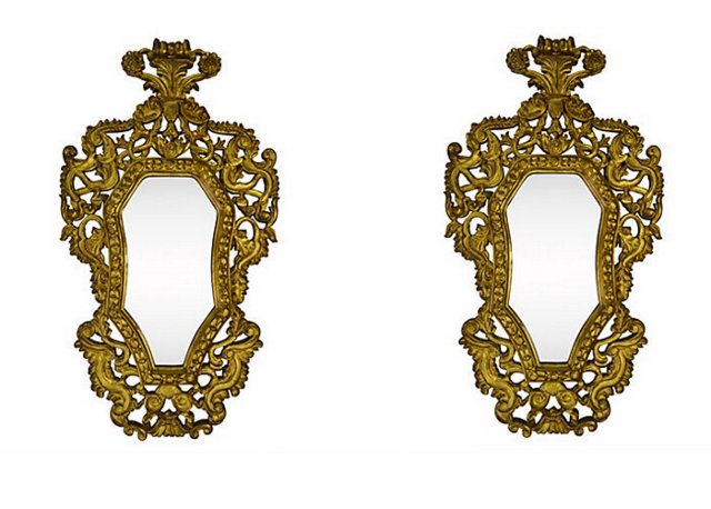Spanish Colonial-Style Mirrors, Pair