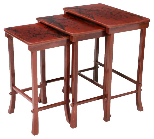 Red Lacquer Nesting Tables, S/3