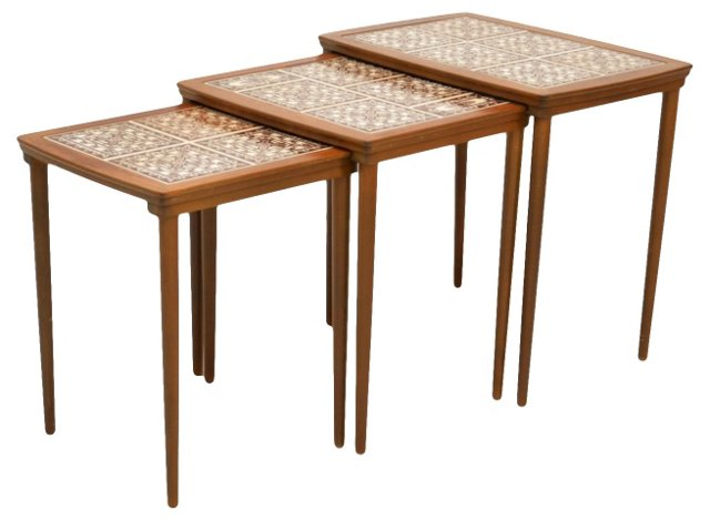 Tile-Top Nesting Tables, S/3