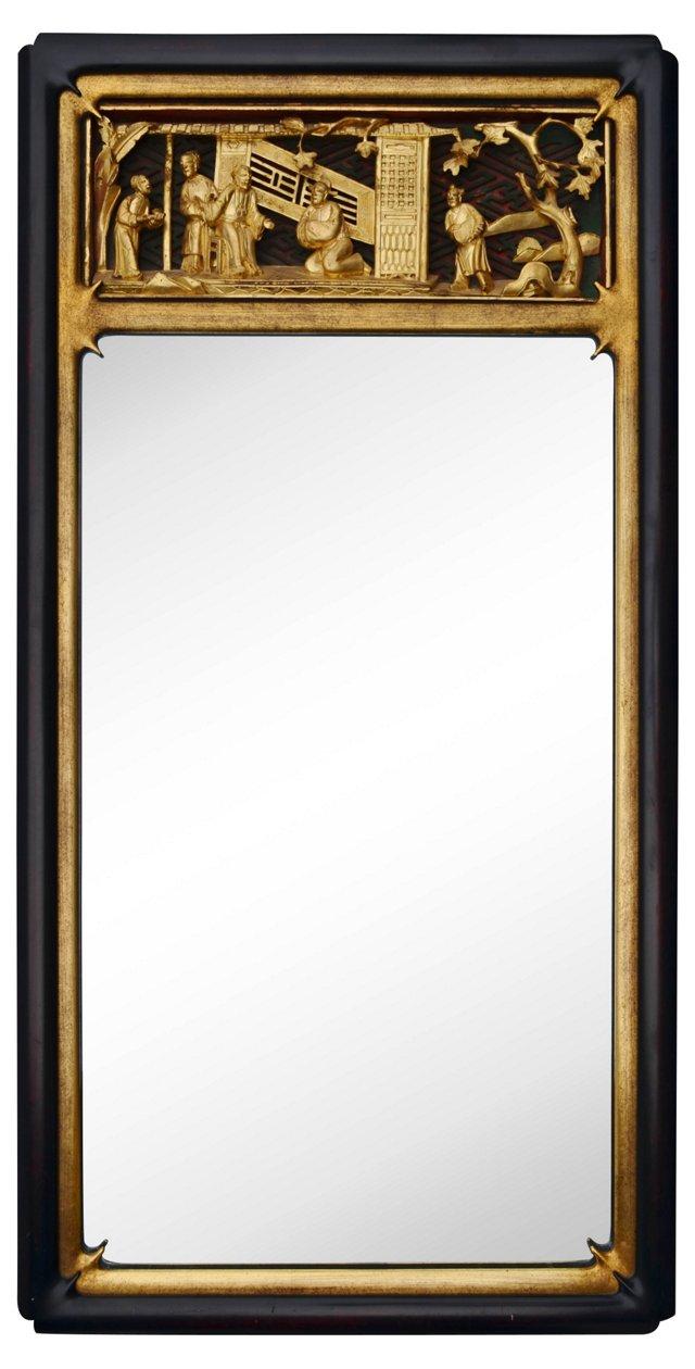 Black Chinoiserie Mirror