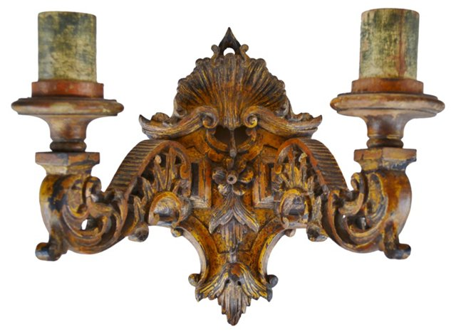 18th-C. Italian Carved Wood Sconce