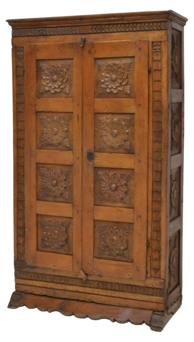 18th-C. Spanish Baroque  Carved Cabinet
