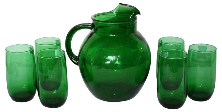 Emerald Green Pitcher & Glasses, 7 Pcs.