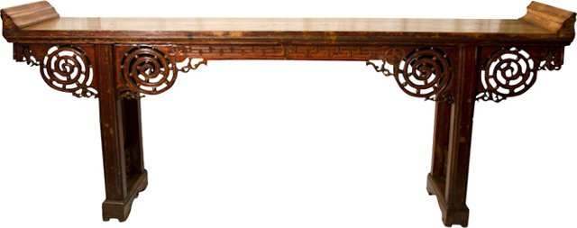 Qing Dynasty Scrolled-Top Altar Table