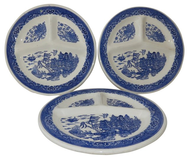 Blue Willow Divided Plates, S/3