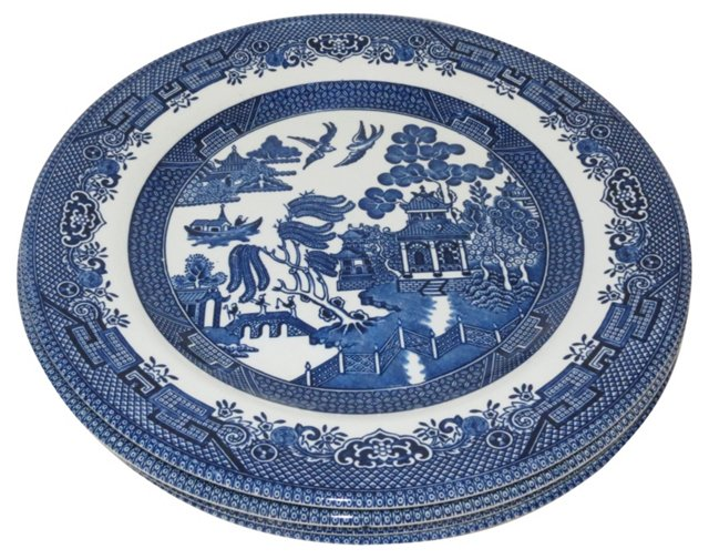 Blue Willow Plates, Set of 4