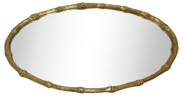 Gold Bamboo-Style Vanity Tray
