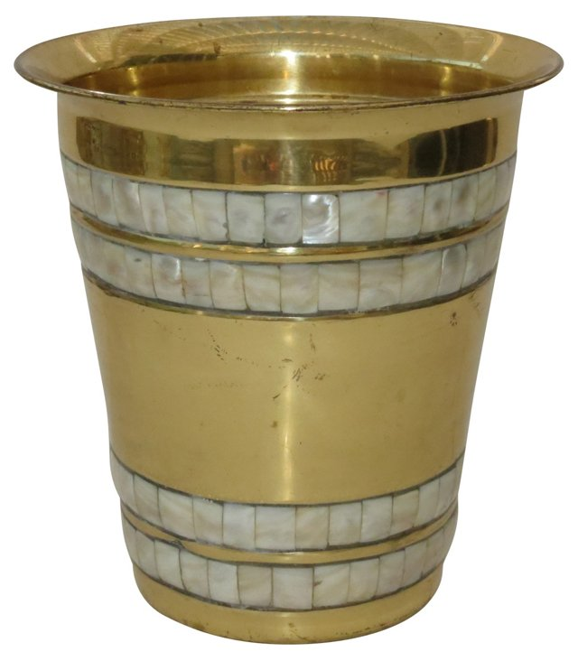 Mother-of-Pearl Inlaid Ice Bucket