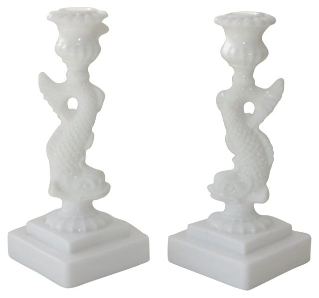 Imperial Glass Candleholders, Pair