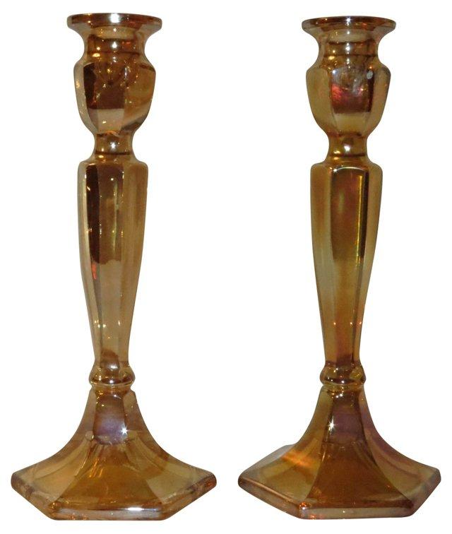 Iridescent Candleholders, Pair