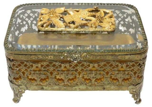 Ormolu Filigree Jewelry Box
