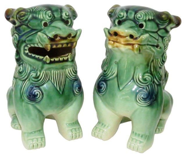 Green Ceramic Foo Dogs, Pair