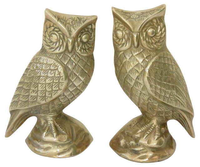 Brass Owl Figurines, Pair